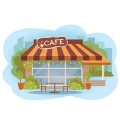 Cafe building facade with outdoor street chair vector