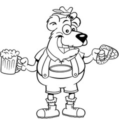 Cartoon bear holding a pretzel and a beer mug vector