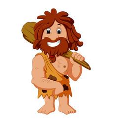 cartoon caveman smiling vector image