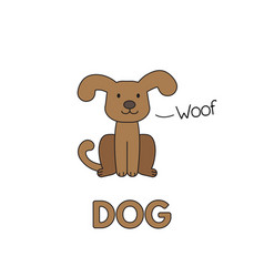 Cartoon dog flashcard for children vector