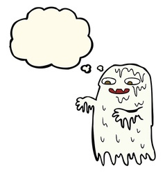 Cartoon gross slime ghost with thought bubble vector