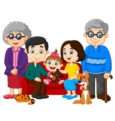 Cartoon happy family isolated on white background vector image