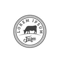 Cattle vintage logo design template vector