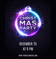 christmas party poster design neon light effect vector image