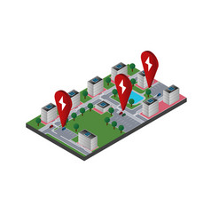 city map with electric car charging pointers vector image