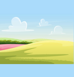 clouds floating on blue sky over peaceful field vector image