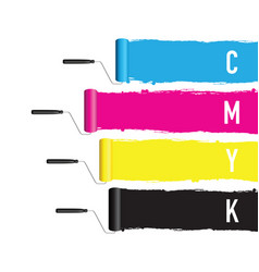 cmyk printing roller vector image