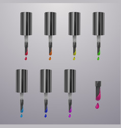 colorful dots nail polish bright colors isolated vector image