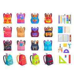Colorful modern rucksacks and school supplies set vector