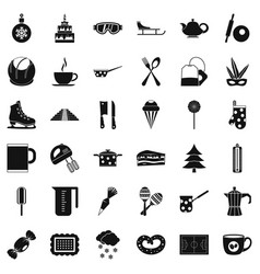 cooking of coffee icons set simple style vector image