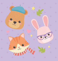 cute and little animals with leafs and hearts vector image