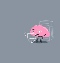 Cute human brain organ holding shield protection vector