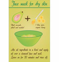 Diy avocado face mask for dry skin vector