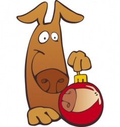 Dog with Christmas bobble vector