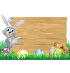 Easter bunny and eggs basket sign vector