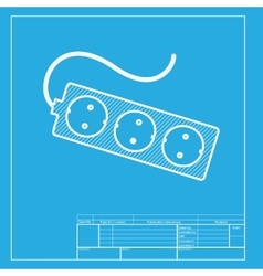 Electric extension plug sign White section of vector image