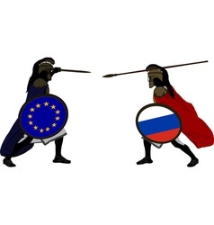 european and russian warriors vector image