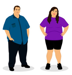 Fat woman fat man thick couple vector