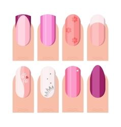 Female manicure set french manicure style vector