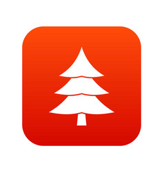 Fir tree icon digital red vector