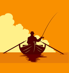 fishing in a boat at sunset vector image