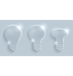 Glass lightbulbs set on grey background vector image