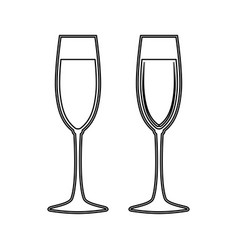 Glass of champagne black color icon vector
