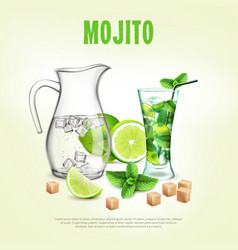 Green cocktails realistic composition vector
