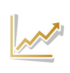 Growing bars graphic sign golden gradient vector