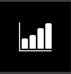 growing graph icon on black background black flat vector image
