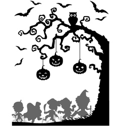 Halloween tree silhouettes vector