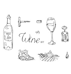Hand drawn sketch wine set vector
