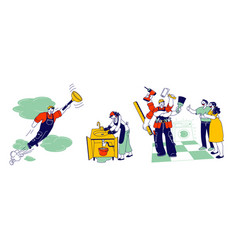 handyman in overalls with instruments and vector image