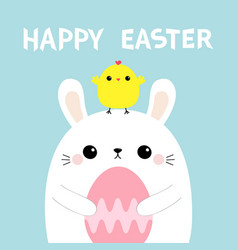 Happy easter bunny holding pink painting egg vector