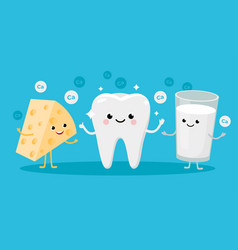 Happy healthy tooth and high calcium products vector