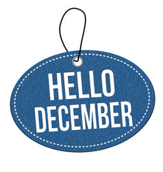 hello december label or price tag vector image