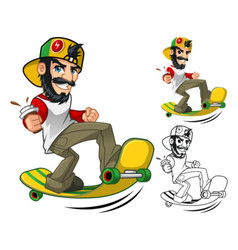 Hipster On Longboard vector