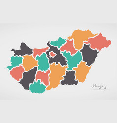 hungary map with states and modern round shapes vector image