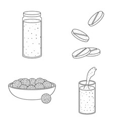 Isolated object food and vegan logo collection vector