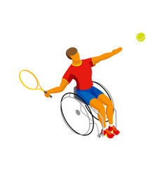 Isometric disabled tennis player isolated on white vector