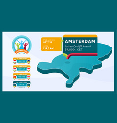 Isometric netherlands country map tagged in vector