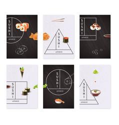 Japanese sushi banner set vector