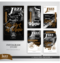 Jazz festival instagram stories template vector