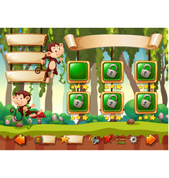 jungle monkey game template vector image