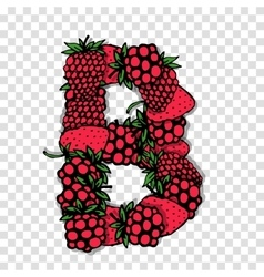 Letter B made from red berries sketch for your vector