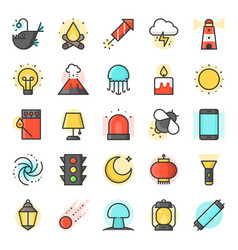 Light source from natural and daily life icon vector