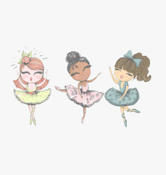 Little fashionable beautiful ballerina girls vector