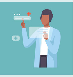Male doctor working with hand touching interface vector
