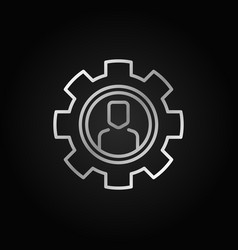 man in gear thin line silver icon vector image