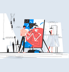 Man painter standing at easel and creating picture vector